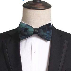 Other - Handmade Feather Bow Tie Wedding Groomsmen Groom